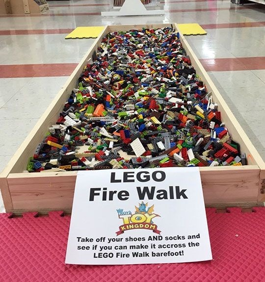 Footwear - LEGO Fire Walk OYs TO KINGDOM Take off your shoes AND socks and see if you can make it accross the LEGO Fire Walk barefoot!