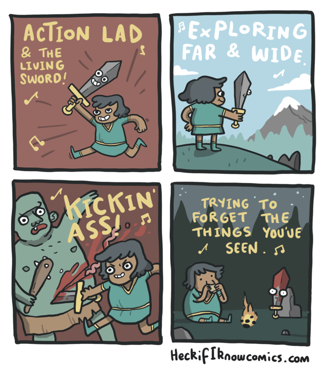 Cartoon - | Ex PLORING FAR & WIDE ACTION LAD & THE LIVING SWORD! KICKIN ASSI n TRYING TO FOR GET THE THINGS YOu'UE ASEEN. HeckifIknowcomics.com