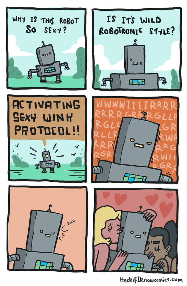 Cartoon - IS ITS WILD ROBOTRONIC $TYLE? WHY IS THIS ROBOT So SEXY? WWWWIIIIRRRR RRRRGRER GLLR RGLY RLL RRR RGR ACTIVATING GR RW RG PROTOCOL!! GRA PING HeckifIknowcomies.com