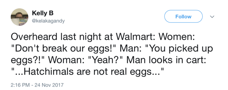 """Text - Kelly B Follow @kelakagandy Overheard last night at Walmart: Women: """"Don't break our eggs!"""" Man: """"You picked up eggs?!"""" Woman: """"Yeah?"""" Man looks in cart: """"...Hatchimals are not real eggs..."""" II 2:16 PM -24 Nov 2017"""