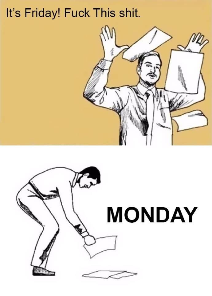 work meme - Cartoon - It's Friday! Fuck This shit. MONDAY