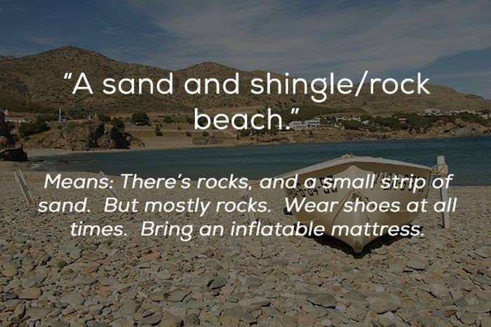 "Text - ""A sand and shingle/rock beach. Means: There's rocks, and a small'strip of sand. But mostly rocks. Wear shoes at all times. Bring an inflatable mattress."