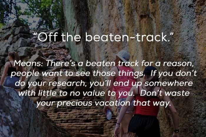 Tree - Off the beaten-track. Means: There's a beaten track for a reason, people want to see those things, If you don't do your research, you'll end up somewhere with little to no value to you. Don't waste your precious vacation that way