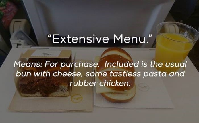"Food - ""Extensive Menu."" Means: For purchase. Included is the usual bun with cheese, some tastless pasta and rubber chicken."