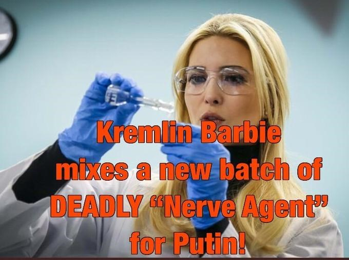 "Photo caption - AKremlin-Barbie mixes a new batch of DEADLY Nerve Agent"" for Putin!"