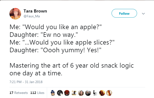 "Text - Tara Brown Follow @Faux_Ma Me: ""Would you like an apple?"" Daughter: ""Ew no way."" Me: ""..Would you like apple slices?"" Daughter: ""Oooh yummy! Yes!"" Mastering the art of 6 year old snack logic one day at a time. 7:21 PM - 31 Jan 2018 17 Retweets 112 Likes"