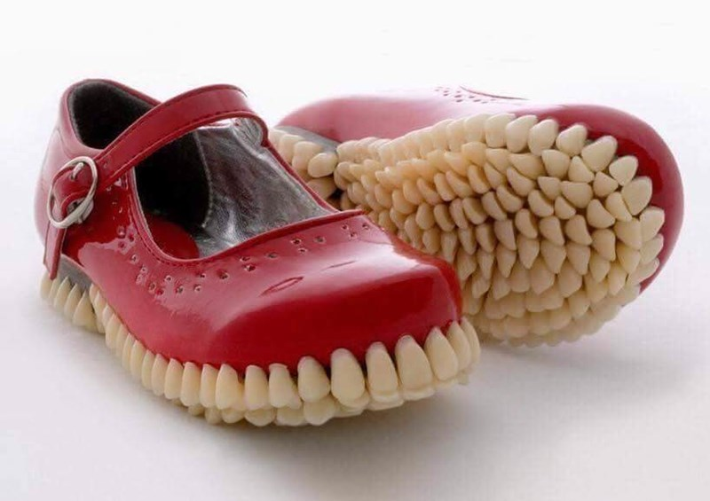 cursed image of crocs with teeth for sole
