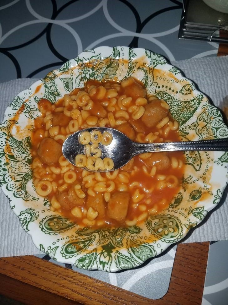 cursed image - Dish - OYAO god is dead in alphavet soup with nasty hot dogs