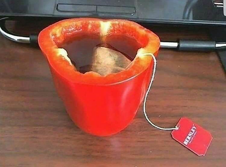cursed image tea in a bell pepper