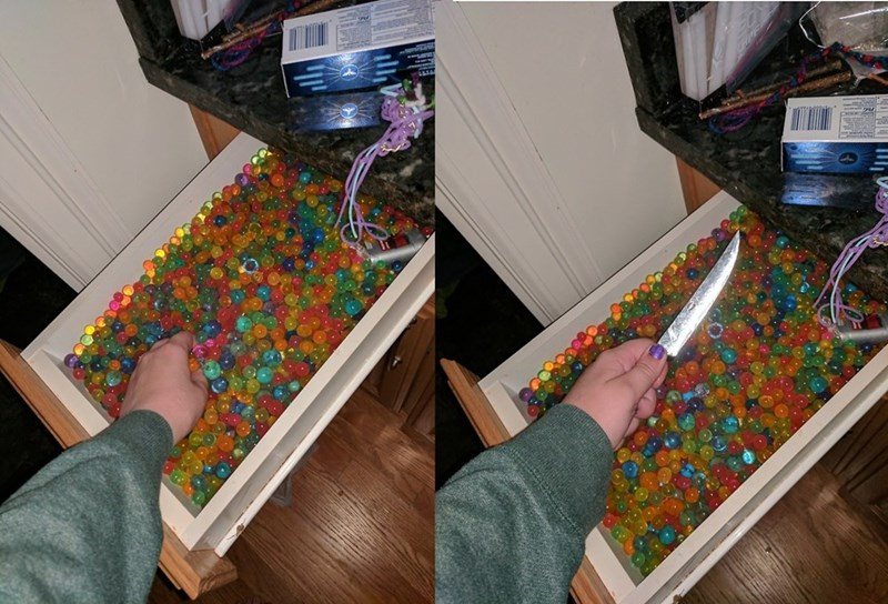 cursed image of a knife hidden in a bunch of jelly beans