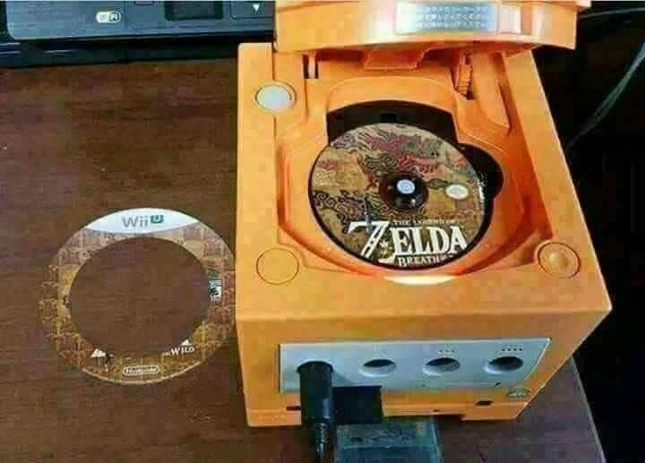 cursed image of faceswap with a zelda cd