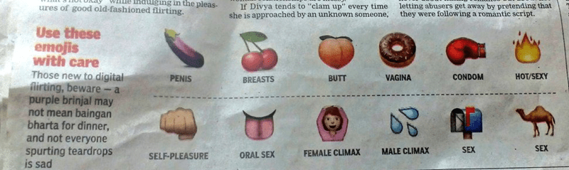 "Apple - WILie induging in the pleas- If Divya tends to ""clam up"" every time she is approached by an unknown someone, ures of good old-fashioned flirting. letting abusers get away by pretending that they were following a romantic script. Use these emojis with care Those new to digital flirting, beware- a purple brinjal may not mean baingan bharta for dinner, and not everyone CONDOM HOT/SEXY PENIS VAGINA BUTT BREASTS SEX spurting teardrops is sad SEX MALE CLIMAX FEMALE CLIMAX ORAL SEX SELF-PLEASUR"
