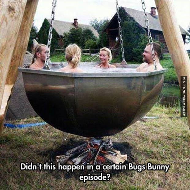 funny picture of hot tub built over a fire pit