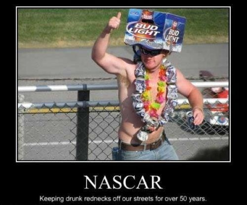 funny picture of redneck at a NASCAR event with a beer crate on his head