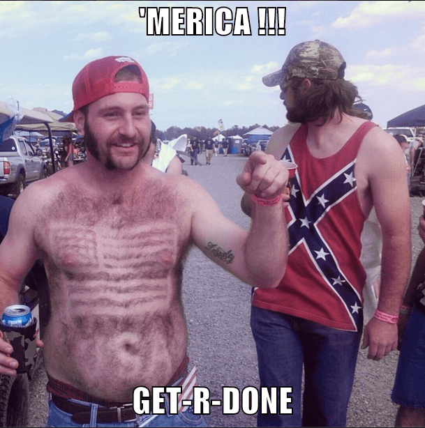 funny picture of redneck with the US flag shaved into his chest hair