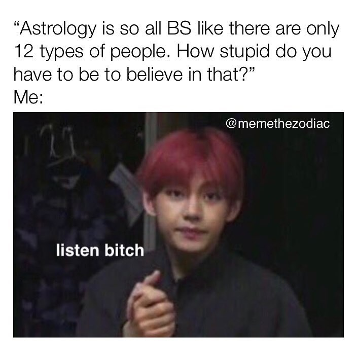 """meme - Hair - """"Astrology is so all BS like there are only 12 types of people. How stupid do you have to be to believe in that?"""" Me: @memethezodiac listen bitch"""