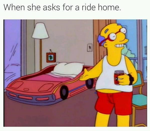 when she asks for a ride home