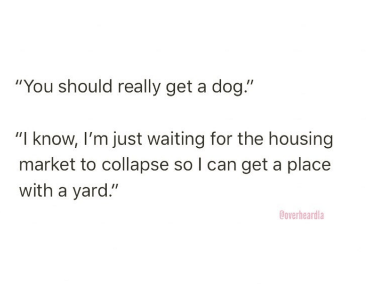 "Text - ""You should really get a dog."" ""I know, I'm just waiting for the housing market to collapse so I can get a place with a yard."" Coverheardla"