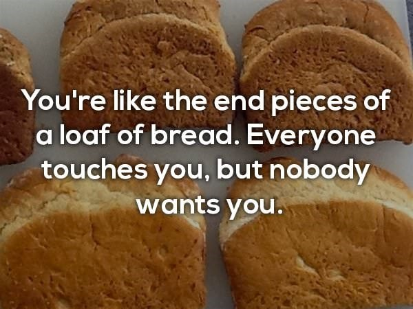 Dish - You're like the end pieces of a loaf of bread. Everyone touches you, but nobody wants you.