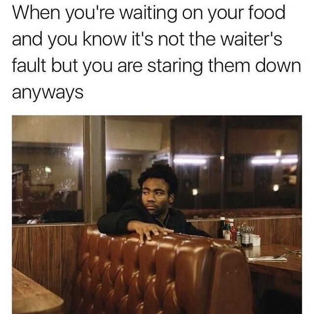 Funny meme about donald glover in restaurant.
