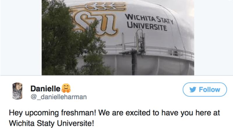 Font - WICHITA STATY UNIVERSITE Follow Danielle @_danielleharman Hey upcoming freshman! We are excited to have you here at Wichita Staty Universite!