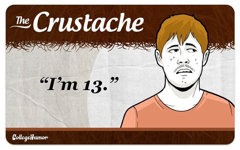"facial hair - Cartoon - Crustache The ""I'm 13."" CollegelHumon"