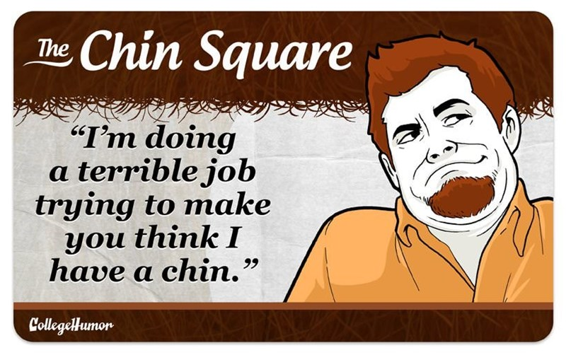 "facial hair - Cartoon - Chin Square The ""I'm doing a terrible job trying to make you think I have a chin."" CollegelHumor"