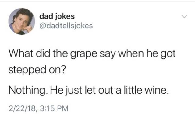 Text - dad jokes @dadtellsjokes What did the grape say when he got stepped on? Nothing. He just let out a little wine. 2/22/18, 3:15 PM