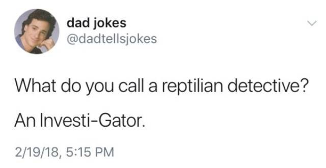 Text - dad jokes @dadtellsjokes What do you call a reptilian detective? An Investi-Gator. 2/19/18, 5:15 PM