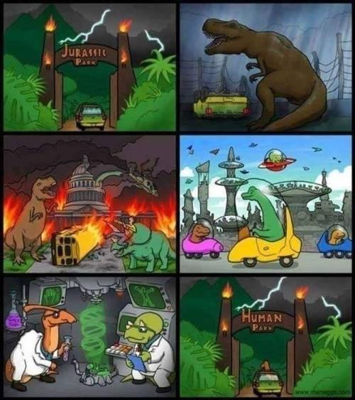trilogia de jurassic park con un final alternativo