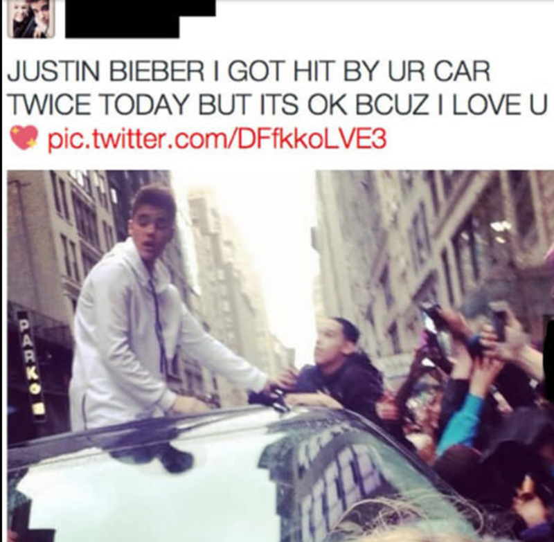 Text -  JUSTIN BIEBER I GOT HIT BY UR CAR TWICE TODAY BUT ITS OK BCUZ I LOVE U pic.twitter.com/DFfkko LVE3 PARKO
