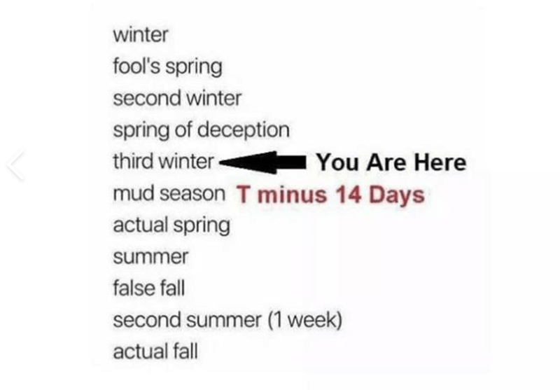 Text - winter fool's spring second winter spring of deception third winter mud season T minus 14 Days actual spring You Are Here summer false fall second summer (1 week) actual fall