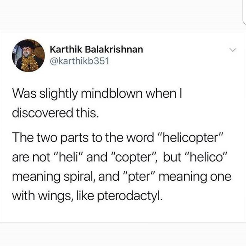 """Text - Karthik Balakrishnan @karthikb351 Was slightly mindblown when I discovered this. The two parts to the word """"helicopter"""" are not """"heli"""" and """"copter"""", but """"helico"""" meaning spiral, and """"pter"""" meaning with wings, like pterodactyl."""