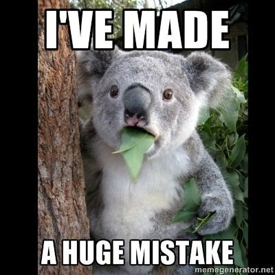 Koala - IVE MADE A HUGE MISTAKE memegenerator.net