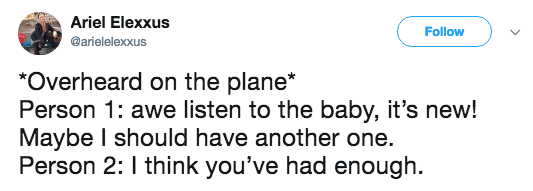 Text - Ariel Elexxus Follow @arielelexxus *Overheard on the plane* Person 1: awe listen to the baby, it's new! Maybe I should have another one. Person 2: I think you've had enough.