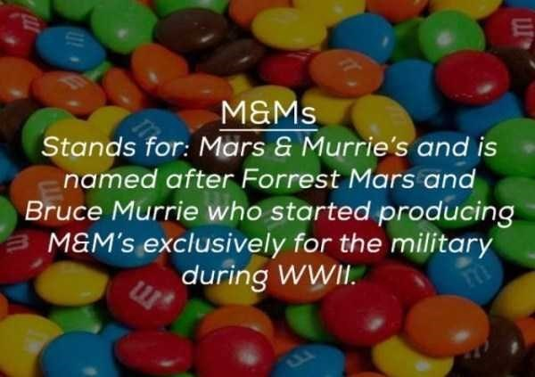 Sweetness - M&Ms Stands for: Mars & Murrie's and is named after Forrest Mars and Bruce Murrie who started producing M&M'S exclusively for the military during WWII.