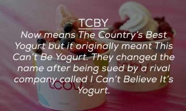 Food - TCBY Now means The Country's Best Yogurt but it originally meant This Can't Be Yogurt. They changed the name after being sued by a rival company called I Can't Believe It's Yogurt.