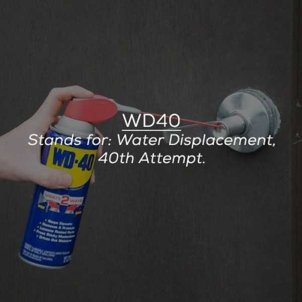 Product - WD40 Stands for: Water Displacement, WD-40 40th Attempt. warh Pr