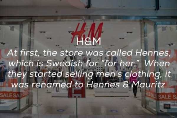 "Advertising - H&M At first, the store was called Hennes, which is Swedish for ""for her When they started selling men's clothing, it was renamed to Hennes & Mauritz EALE SALE S SALE SALE"