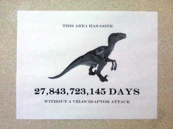 librarian meme - Dinosaur - THIS AREA HAS GONE 27,843,723,145 DAYS WITHOUT A VELOCIRAPTOR ATTACK