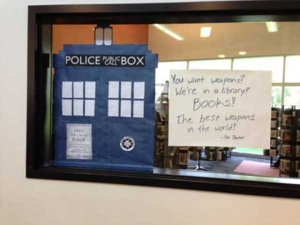 librarian meme - Room - POLICE BOX You want weapons? We're in a library Bookst The best weapans in the world The