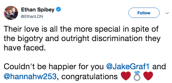 Text - Ethan Spibey Follow @EthanLDN Their love is all the more special in spite of the bigotry and outright discrimination they have faced. Couldn't be happier for you @JakeGraf1 and @hannahw253, congratulations