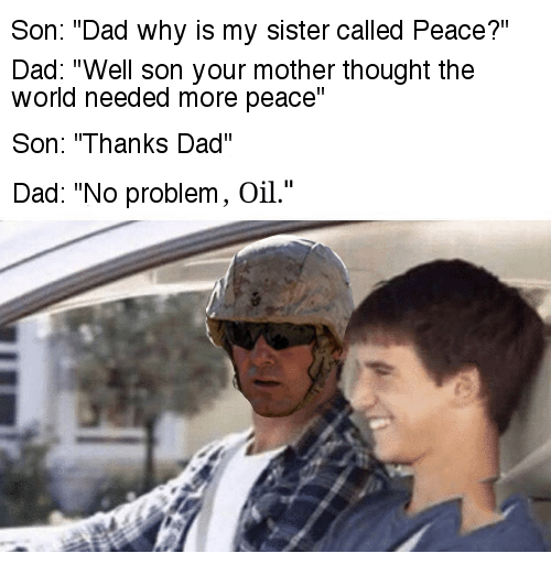 Funny meme about america loving oil.