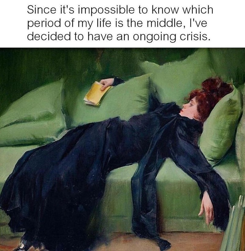 Funny meme about life crises.