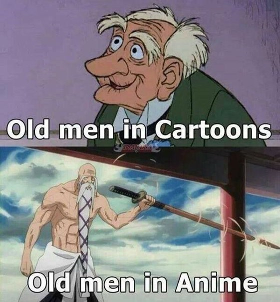 old men in cartoon in anime