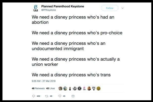 Text - GPlanned Parenthood Keystone Follow PPKeystone 100 We need a disney princess who's had an abortion We need a disney princess who's pro-choice We need a disney princess who's an undocumented immigrant We need a disney princess who's actually a union worker We need a disney princess who's trans 9:29 AM-27 Mar 2018 48 Retweets 45 Likes 45 48 482