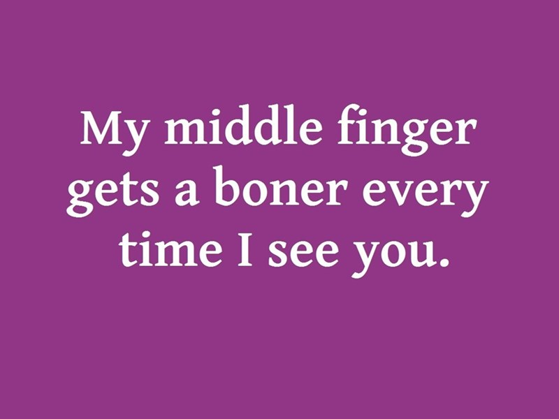 Text - My middle finger gets a boner every time I see you.