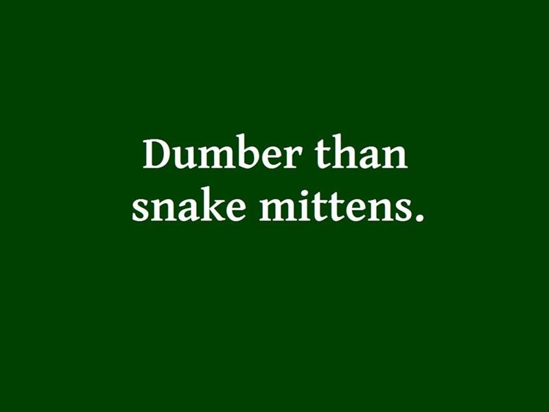 Green - Dumber than snake mittens.