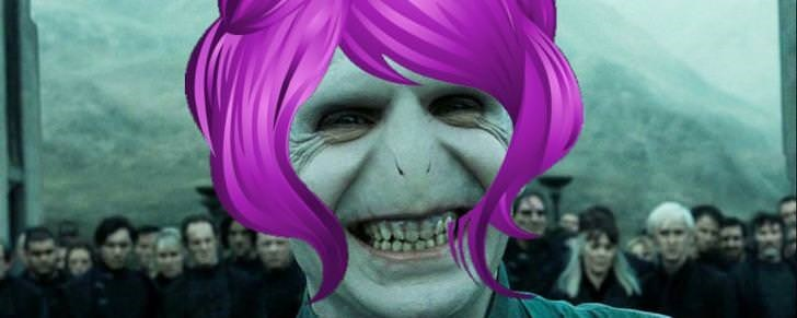 voldemort with purple wig photoshopped onto his head