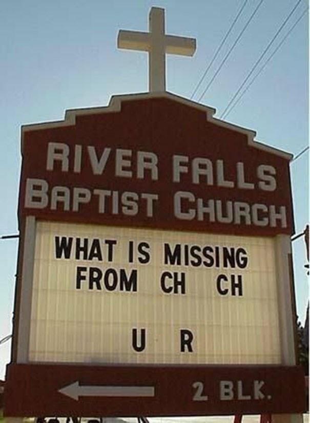 Landmark - RIVER FALLS BAPTIST CHURCH WHAT IS MISSING FROM CH CH U R 2 BLK